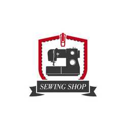 Sewing machine icon for tailor dressmaker vector