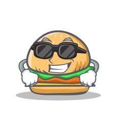 Super cool burger character cartoon style vector