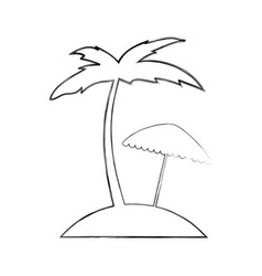 Tree palm beach with umbrella vector