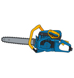 Yellow and blue chainsaw vector