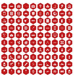 100 development icons hexagon red vector