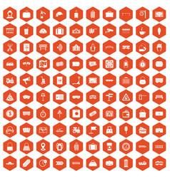 100 railway icons hexagon orange vector