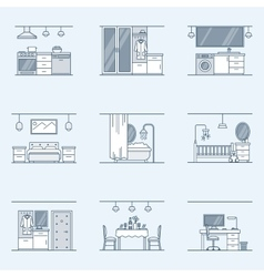 Interior design set linear icons for interior vector