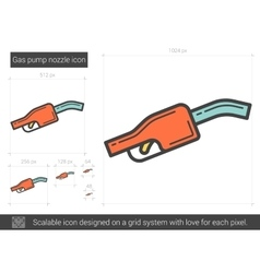 Gas pump nozzle line icon vector