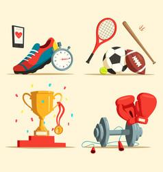 Running shoes and baseball bat soccer rugby ball vector