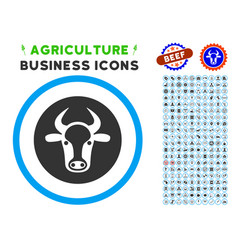 bull head rounded icon with set vector image