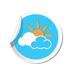 Weather forecast clouds with sun icon vector