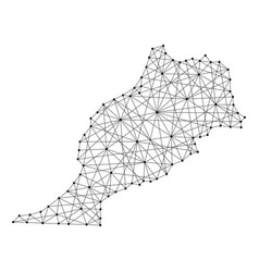 Map of morocco from polygonal black lines and dots vector