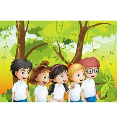 Five students at the forest vector