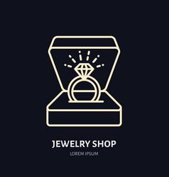 Shining brilliant ring in gift box vector