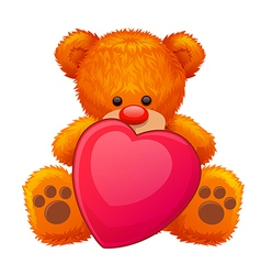 Red teddy bear vector