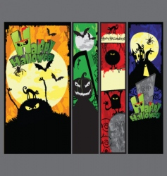Set of 4 vertical halloween banners vector