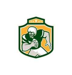 American football qb player running shield retro vector