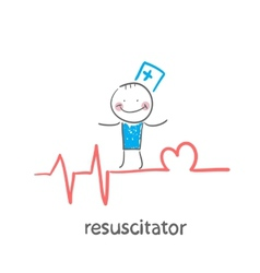 resuscitation is on the line showing the beating vector image