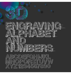 Engraving alphabet and numbers vintage gravure vector