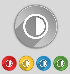 Contrast icon sign symbol on five flat buttons vector