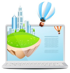 Icon Laptop with Flying Island vector image