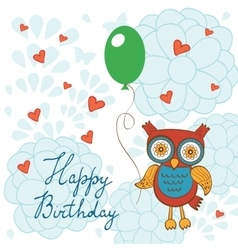 Happy birthday card with cute owl character vector