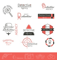 Detective icons vector
