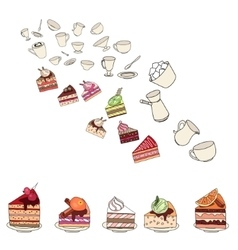 Different slises of cakes and dishes on white vector