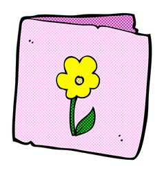 Comic cartoon flower greeting card vector