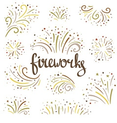 Hand drawn colorful fireworks on white background vector