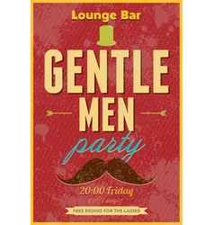 Gentlemen party typography poster vector