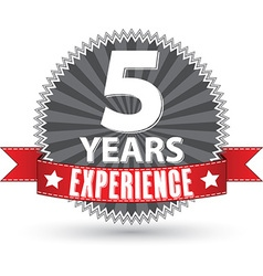 5 years experience retro label with red ribbon vector
