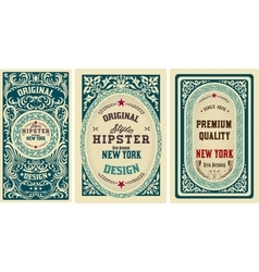 Old cards set with floral details elements vector