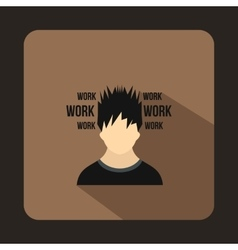 Man and work words icon flat style vector