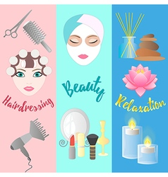 Accessories for hairdressing salon facials beauty vector