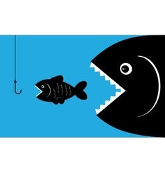 big fish with bait vector image vector image