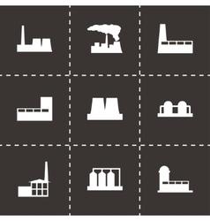 Black factory icon set vector