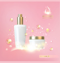 Bottle of cosmetic lotion and jar of cream vector