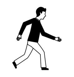 Businessman avatar walking icon vector