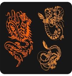 Chinese Dragons - set vector image vector image