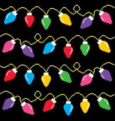 Christmas lights cross-stitch pattern pixel xmas vector