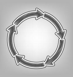 Circular arrows sign pencil sketch vector