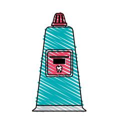 Color crayon stripe cartoon toothpaste for dental vector