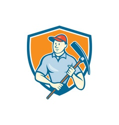 Construction worker holding pickaxe shield cartoon vector