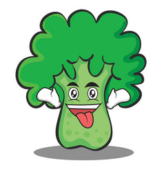 crazy broccoli chracter cartoon style vector image vector image
