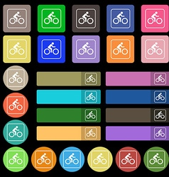 Cyclist icon sign set from twenty seven vector