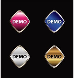 Demo sticker icon set vector