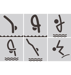 diving icons vector image