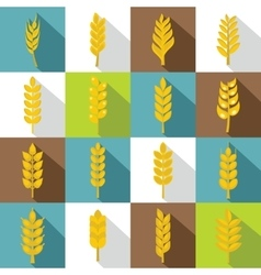 Ear corn icons set flat style vector