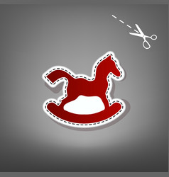Horse toy sign red icon with for applique vector