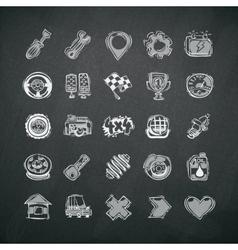 Icons Set of Car Symbols on Blackboard vector image vector image
