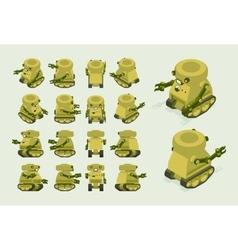 Isometric khaki military robot on crawler tracks vector image