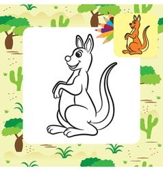 Kangaroo coloring page vector