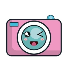kawaii cartoon photographic camera vector image